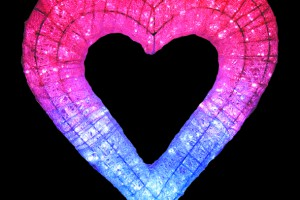 LEDクリスタルグロー ハート ホワイトピンク