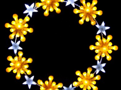 LEDクリスタルグロー スノーフレークリング イエロー(大)