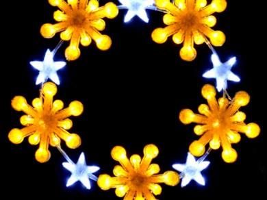 LEDクリスタルグロー スノーフレークリング イエロー(小)
