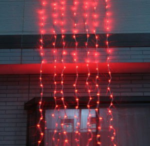 LEDウォーターフォールカーテン レッド