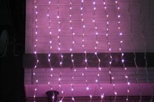 LEDウォーターフォールカーテン ライトピンク