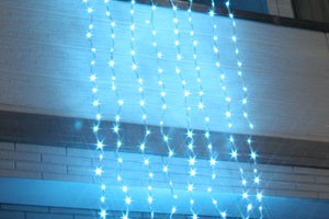 LEDウォーターフォールカーテン ライトブルー