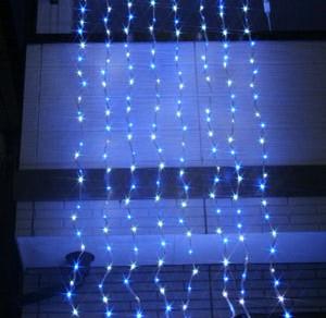 LEDウォーターフォールカーテン ホワイト&ブルー